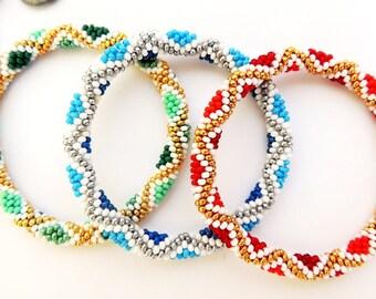 Beads Roll On Bracelet - Emerald Green, Red, Blue, White, Gold Beaded Bracelet - Glass Bead Diamond Bracelet - Seed Bead Rope Crochet Bangle