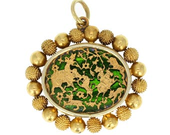 Antique Victorian 18ct Gold Chinoiserie Pendant