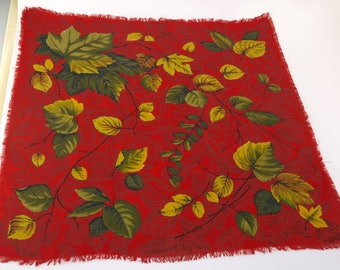 1950s Twilled Rayon Autumn Leaves Scarf