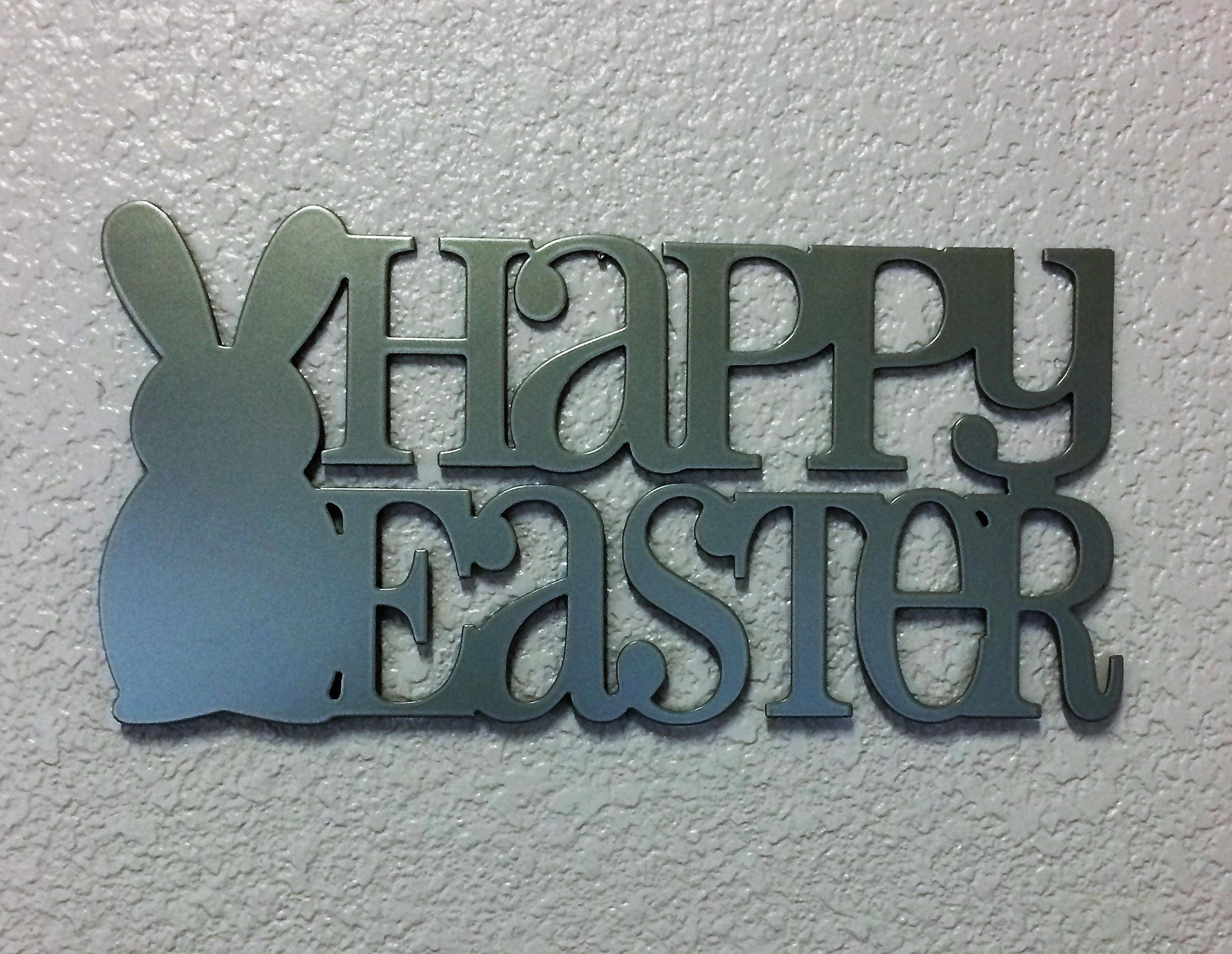 Happy Easter Plasma Cut Metal Sign 14 Wide By
