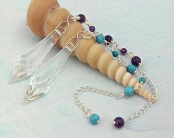 Pendulums   Swarovski Crystal Pendulum with Amethyst or Turquoise   Dowsing Pendulums   Divination Dowser    Healing Pendulums    A0492