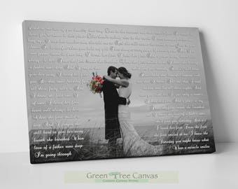 White and Black Photo on Canvas, Wedding lyrics framed, Anniversary day gift First Dance Lyrics, Picture with Wedding Vows, Gift for husband