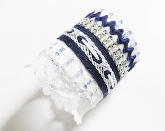 Blue and white nautical Cuff Bracelet with Rhinestones