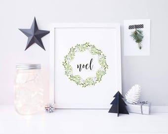 Noel Chrsitmas Print - Christmas Wreath Print - Mistletoe Wreath