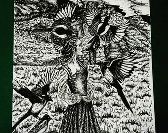 The Five Magpies, A4 Pen and Ink Illustration Print