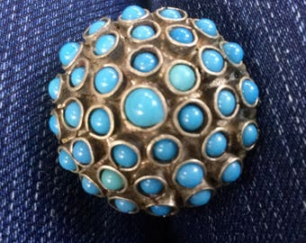 1970's Turquoise Cluster Dome Ring Size 6.5