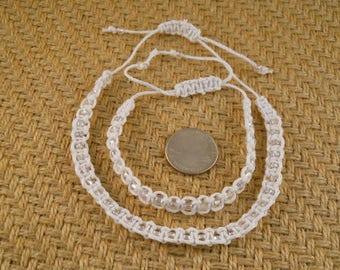 Ankle Bracelet And Bracelet Set White Hemp Cord Many Colors Macrame Tiny Seed Beads Adjustable Sliding Macrame Closure