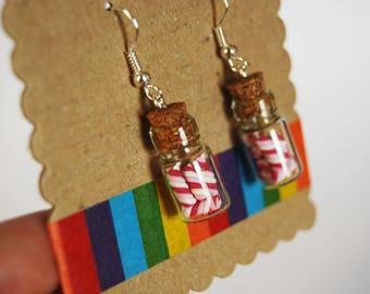 Earrings flasks with miniature Marshmallows-white, pink, Fuchsia