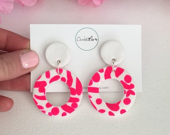 Bright pink and white dangle polymer clay earrings, double circle dangles, bright clay dangle earrings, fluro pink earrings