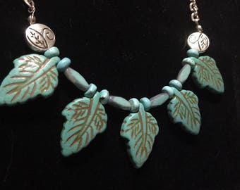 Turquoise Leaf Pendant Necklace