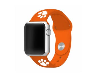 WATCH BAND ONLY - Clemson University Tigers Silicone Sport Band Fits Apple Watch™ - Officially Licensed