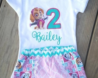 Paw patrol outfit - paw patrol skye outfit - girl paw patrol outfit - paw patrol shirt - paw patrol shorts-skye shirt