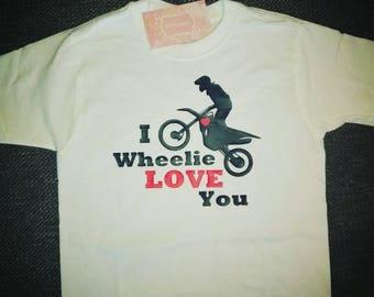 Dirt bike valentine shirt- boy valentine shirt- motocross valentine shirt- toddler valentine shirt- I wheelie love you shirt-valentine shirt