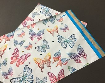 25 10x13 Designer BUTTERFLIES Poly Mailers Blue Pink Envelopes Shipping Bags