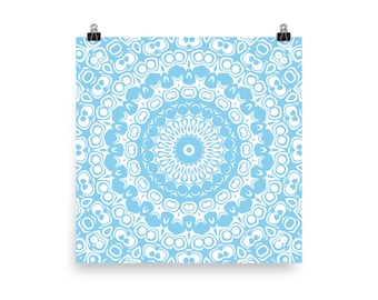 Baby Blue Wall Art, Abstract Blue and White Mandala Art, Home Decor in Blue, Art Print
