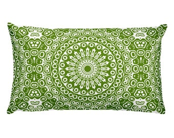 Avocado Pillow, Decorative Throw Pillow, 20x12 Lumbar Pillow, Green and White Mandala Design Rectangle Cushion