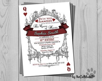 Queen of Hearts Invitation - Alice in Wonderland - Fanciful and Vintage Design - Ornamental drawing border - Red & Black Digital Invite