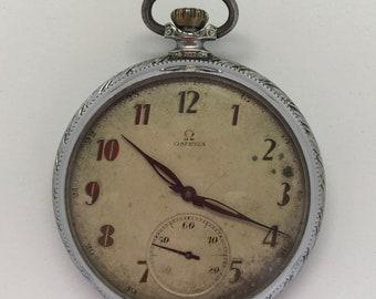 Vintage 1920s Omega Pocket Watch Open Face 15 Jewels size 14 Signed Case Runs  # 87