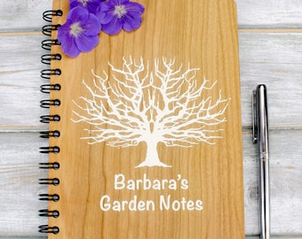 Personalised Wooden A5 Gardening Note Book, Journal, Planner - Tree Design