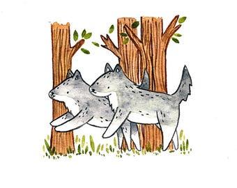 "ORIGINAL ""Wolf Friends"" Watercolour Painting"