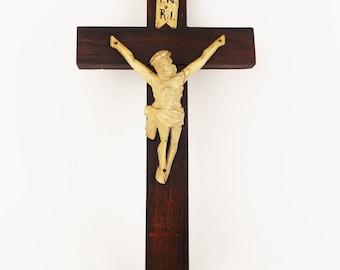Vintage 1930 Wooden Crucifix Mounted Lime Figurine of Jesus Christ INRI