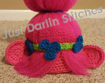 Crochet Trolls Hat PATTERN, Poppy Inspired hat