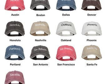 City Embroidered Washed Cap