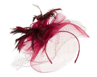 Flower and Feather Accented Fascinator