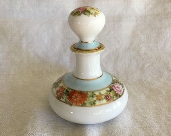 Vintage Nippon Hand Painted Perfume Bottle Gold Gilt Roses Flowers Cork Stopper Porcelain Cottage Chic Shabby Style