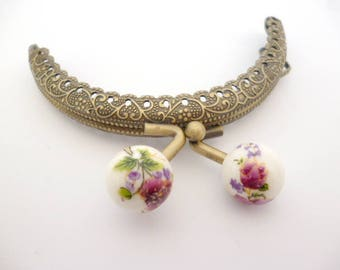 """Bronze Purse Frame _AT031325478/2527_Frames_ Brass purse / Lilac flowers of 85 mm / 3,34"""" _ pack 1 pcs"""