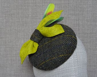 Dark green pillbox hat, acid yellow bow with rare parrot feathers , Harris tweed cocktail hat, autumn wedding hat, button fascinator - PF26