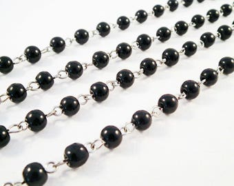 CH23 - 30cm chain with silver 6mm black acrylic beads
