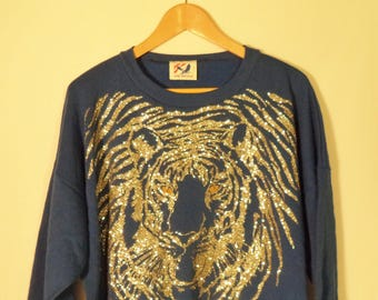 New 80s slouchy tiger sweatshirt w/ tags dead stock// Vintage RAW AMERICA USA made//  Oversize blue metallic kitsch hipster// One size women