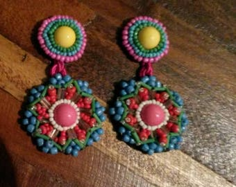 Mostacilla Embroidered Ethnic Earrings