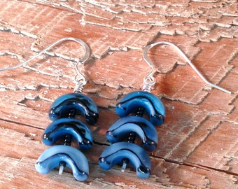 Blue Arc Earrings
