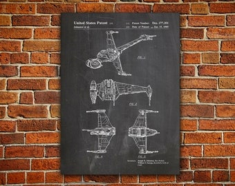 Starwars B-Wing Canvas painting, B-Wing Patent, B-Wing Poster, B-Wing Print, Star Wars Poster,Star Wars Nursery,Star Wars Printable,Patent