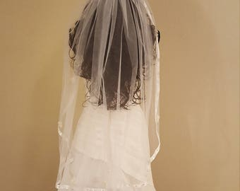 White Ribbon Edged Wedding Veil