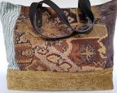 Gypsy Bag, Sustainable Velvet Tote, Tapestry Patchwork Tote, Large Boho Tote, Tote Handbag, Handmade Eco-friendly Handbag, Bohemian Tote Bag