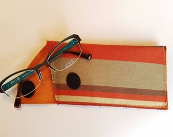 Glasses Case, Fabric Eyeglass Case, Red, brown, beige and orange Glasses Case, Textile Eye Glass Sleeve, Eye ware Case, Spectacles Case