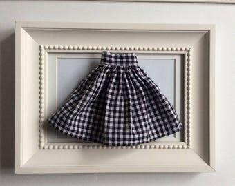 Timeless Gingham Black and White Skirt for Blythe doll.
