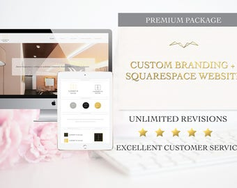 Premium Brand Package - Custom Logo Design, 4 Collateral Items & Custom Squarespace Website - Business Branding and Marketing - deposit