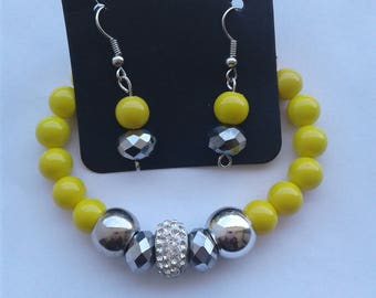 Women's Yellow and Silver bracelet with Earrings
