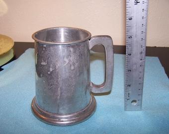 English Pewter Beer Mug Tankard Made In England Glass Bottom