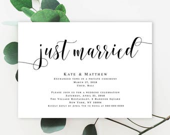 We got hitched elopement wedding announcement post wedding elopement invitation template wedding template elopement reception invitation wedding announcement template just married announcement vm31 pronofoot35fo Images
