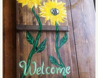 25%OFF Large SUNFLOWER Welcome Pretty Flower Art Painted On Reclaimed Wood Plank Painting Scott D Van Osdol Garden Porch Home Wall Decor 14x