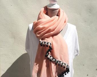 Pom Pom Scarf - pom pom shawl, pink shawl, pink oversized scarf,