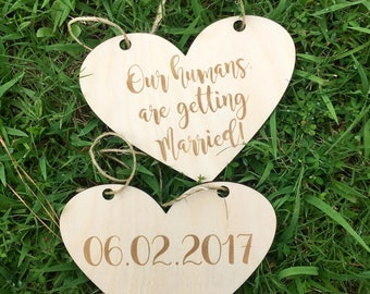 LASER ENGRAVED our humans are getting married dog puppy sign - Dog Photo Prop Sign Engagement Photo Prop - Heart Pet Photo Wedding Photo Pro