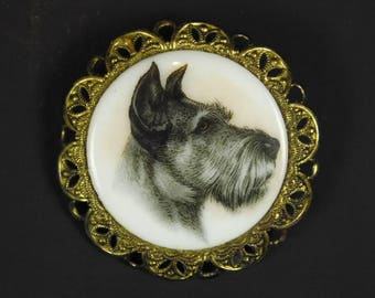 Vintage Porcelain Transferware Gray White Schnauzer Scottish Terrier Dog Canine Cameo Pin Brooch Western Germany Filigree Goldtone