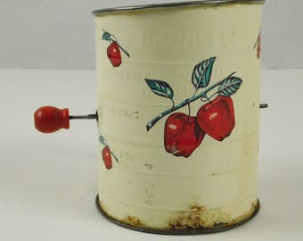 Vintage Bromwells White with Red Apples Measuring Flour Sifter Country Farmhouse Decor Kitchen Shabby Chippy Paint Red Wood Knob