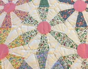 QUILT, hand stitched, pinwheel pattern, full/queen size